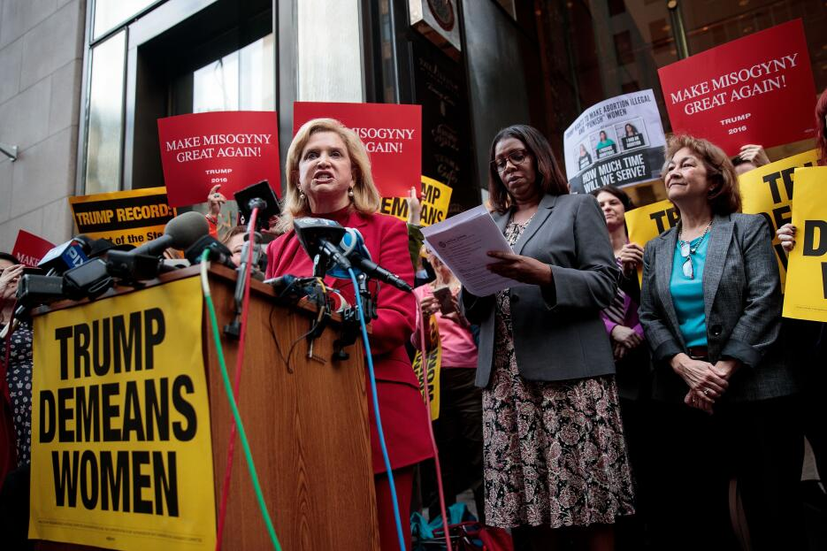 La congresista demócrata Carolyn Maloney sentenció frente a la Torre Tru...