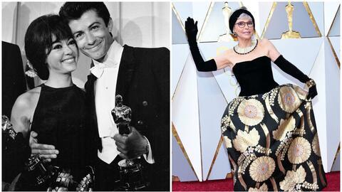 A la izquierda, Rita Moreno junto George Chakiris, celebrando sus premio...
