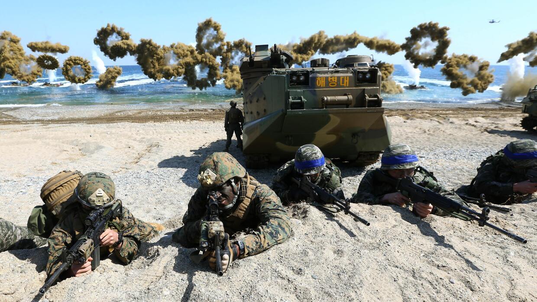 Marines de EEUU y de Corea del Sur en el ejercicio militar conjunto.