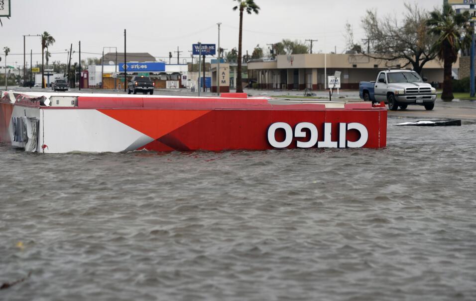 Aransas Pass, Texas, una de las primeras afectadas por las inundaciones...