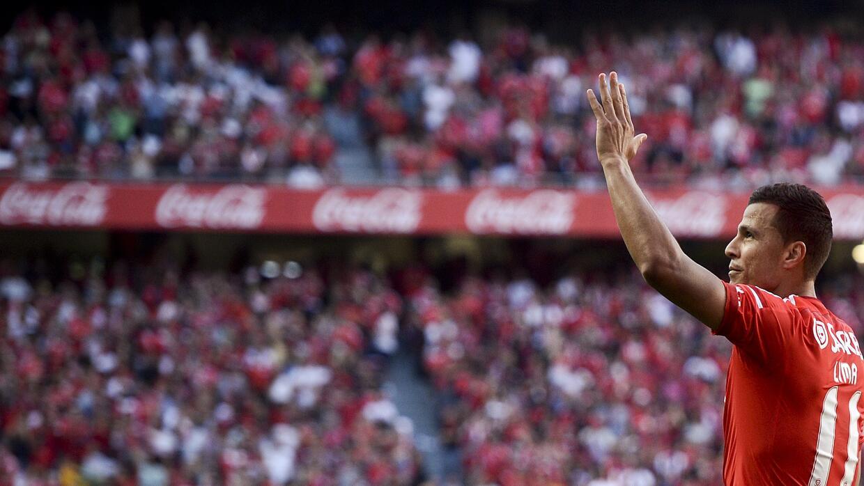 Rodrigo Lima celebra su gol ante Marítimo.