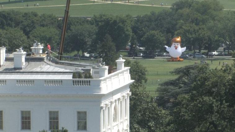 Un pollo gigante inflable peinado a lo Donald Trump es colocado frente a...