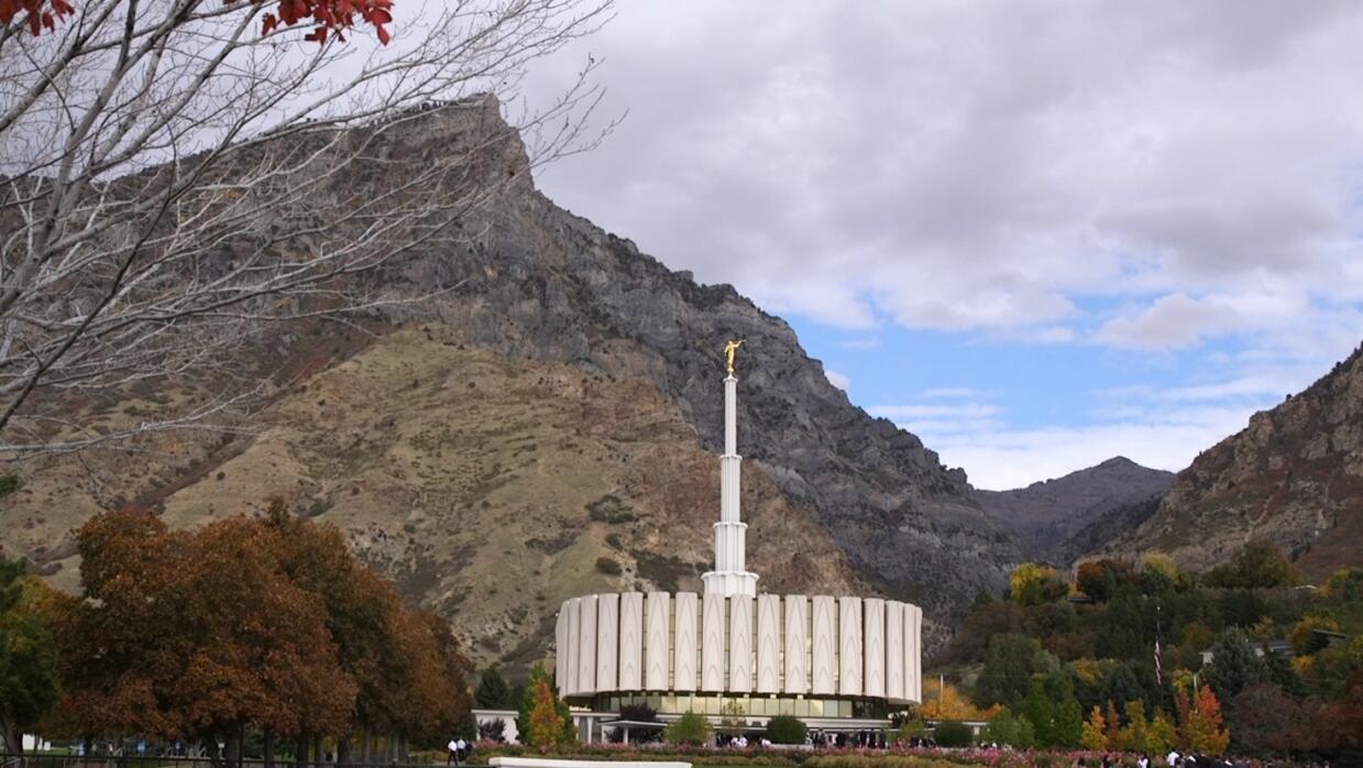 Vista del templo mormón de Provo, en Utah.