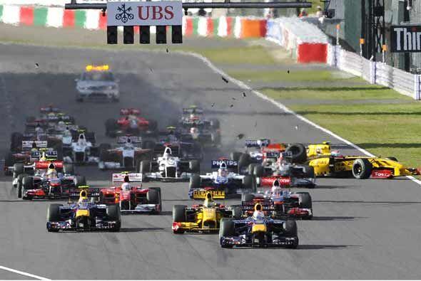 El GP de Japón tuvo un comienzo un poco accidentado.