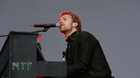Coldplay frontman Chris Martin performs on stage at the 'Crystal Palace'...