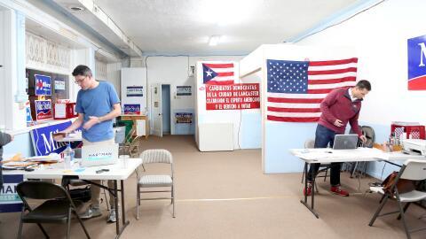 Oficina compartida por campañas demócratas en Lancaster, P...