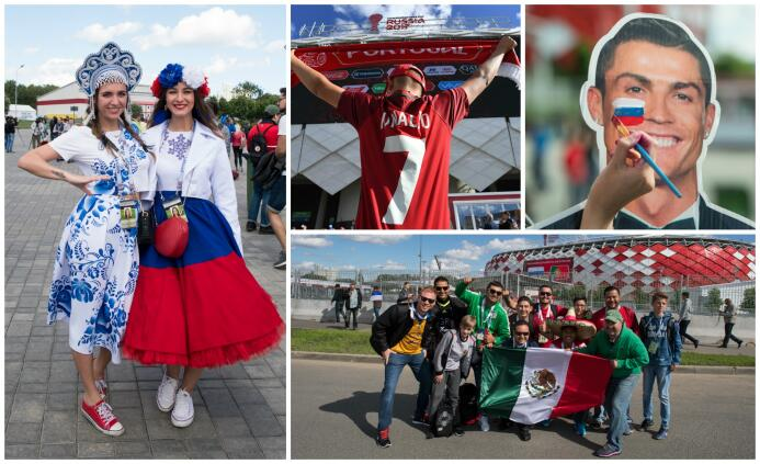 Belleza, color y hasta mexicanos en la previa del Rusia-Portugal RUS POR...
