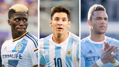 Gyasi Zardes, Lionel Messi y Khiry Shelton