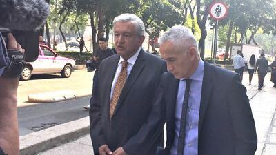 Andrés Manuel López Obrador and Jorge Ramos go walkabout on Reforma Aven...