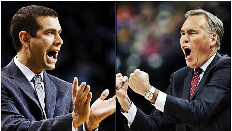 Celtics 'Brad Stevens y Rockets' Mike D'Antoni entrenadores del mes.
