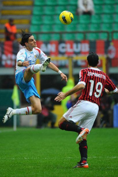Convertiría un gol en la goleada del Milan 4 por 0 al Catania.