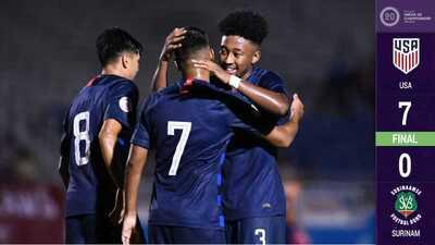 Estados Unidos sigue goleando en el Premundial Sub-20, ahora fue ante Surinam
