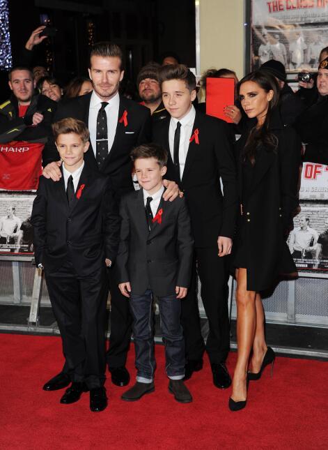 Romeo Beckham, David Beckham, Cruz Beckham, Brooklyn Beckham and Victori...