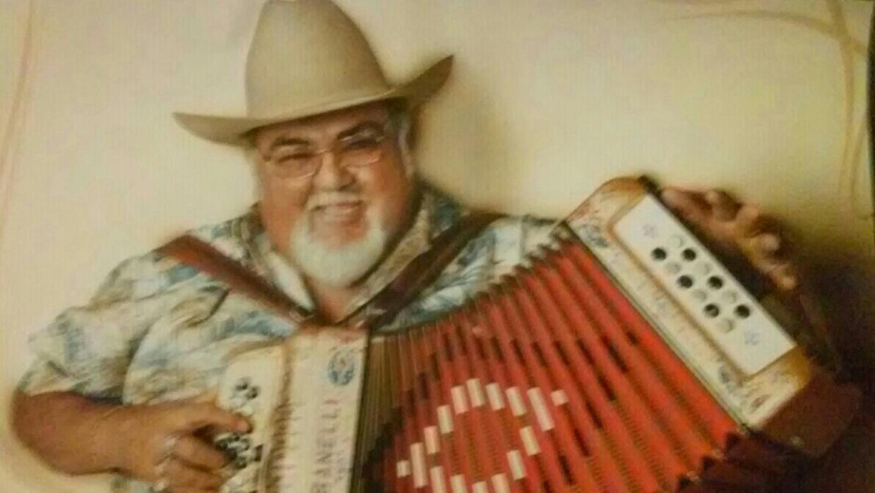 Conjunto icon Nick Villarreal poses for a photo with his accordion. Vill...