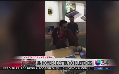 Enfurece y destroza aparatos en una tienda Apple