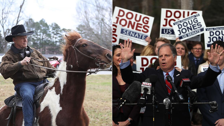 Moore, acudió a votar a caballo en Gallant, y Doug Jones, en transporte...