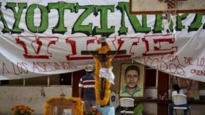 Ofrenda del Día de Muertos en la Escuela Normal de Ayotzinapa.