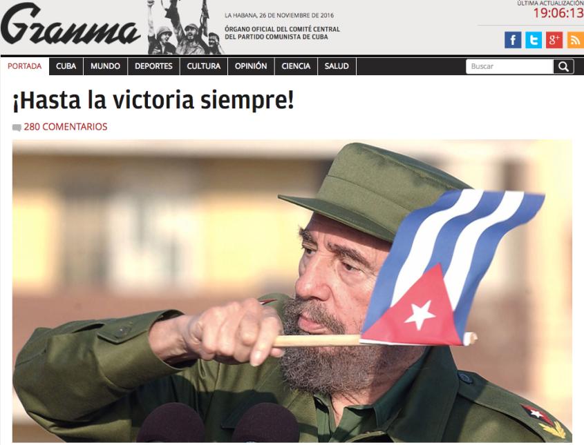 El diario estatal cubano Granma desplegó una imagen de Fidel Castro cuan...