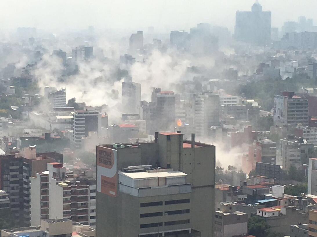 Una toma de aérea de la ciudad de México, luego del poderoso sismó que l...