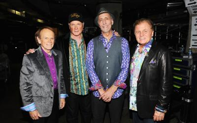 LOS ANGELES, CA - FEBRUARY 12: Musicians Al Jardine, Mike Love, David Ma...