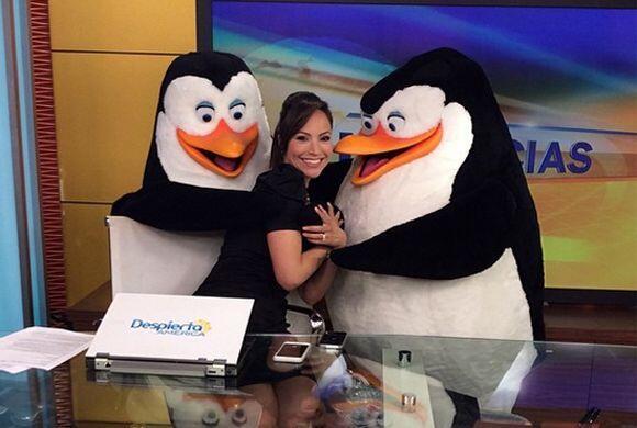 'Los #PenguinsofMadagascar quieren presentar las noticias con @satchapre...