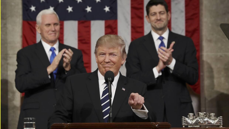 Donald Trump en su discurso frente al Congreso de EEUU.