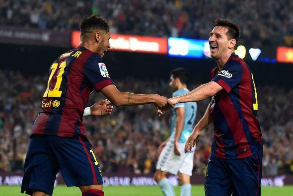 Neymar hizo su gol a pase de Messi. El Barcelona ganaba 2-0.