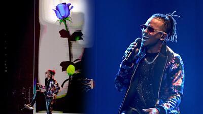 Ozuna se robó el show interpretando 'El farsante' y 'Única' acompañado de una flor azul gigante