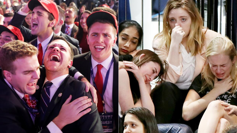 Las expresiones de celebración de los simpatizantes de Trump contrastan...