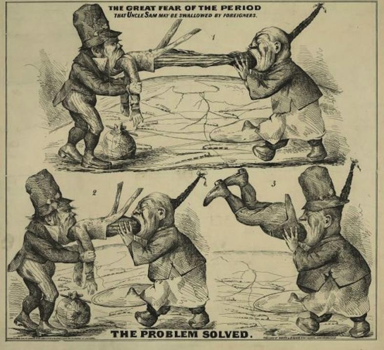 El dibujo muestra a un irlandés y a un chino comiéndose po...